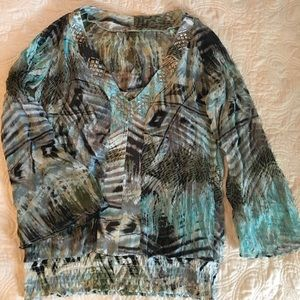 Tops - Beautiful Turquoise& Black Blouse